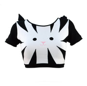 Black and white stripy crop top with sleeves and a cute face with ears. Underwear for women or t-shirt by knickerocker