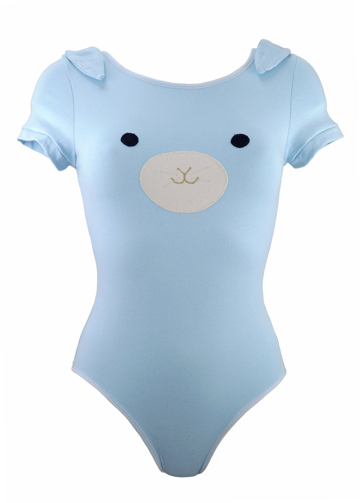 womens blue bunny with ears bodysuit tight fitting lingerie