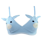 Underwear with face bra with blue bunny face and ears for women lingerie by knickerocker
