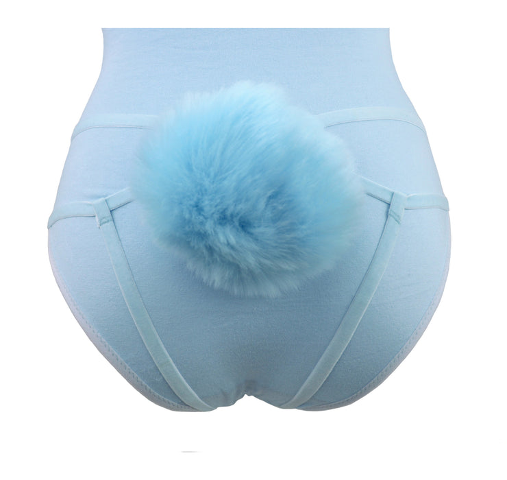 Blue bunny detachable fluffy tail harness for women as fun costume or lingerie by knickerocker