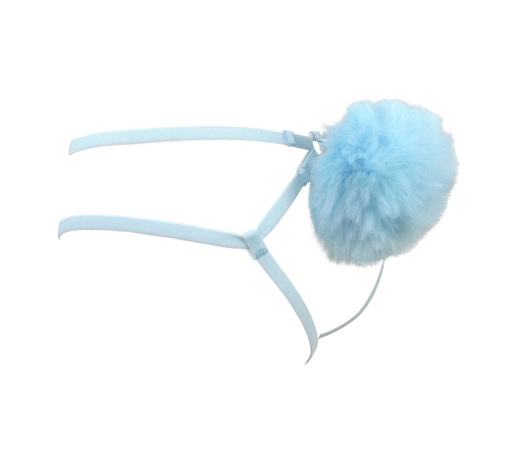 Blue Fluffy Bunny Tail Harness