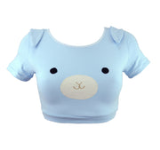face on underwear blue bunny crop top t shirt for women by knickerocker