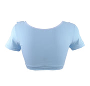 back of blue crop top with bunny face by knickerocker