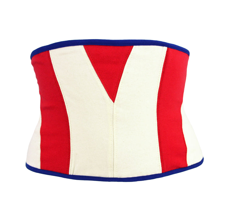 Captain america lace up corset in red and cream for women