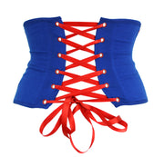 Blue and red lace up corset handmade by knickerocker