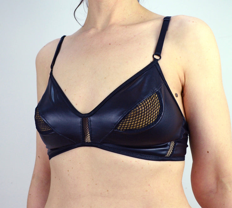 Woman wearing cat woman cut out eye bra lingerie by knickerocker