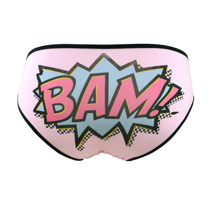 bam comic book text cartoon writing knickers for women by knickerocker