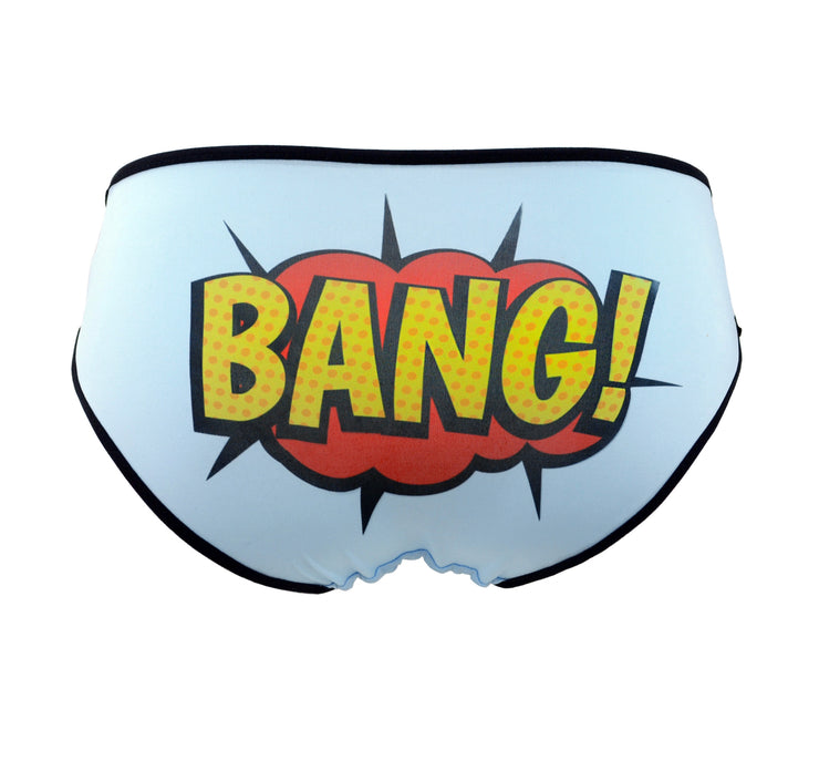 Funny blue panties with retro comic book word Bang! on the back Underwear for women by Knickerocker