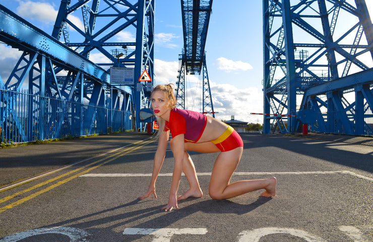 girl in the flash lingerie set in front of the transporter bridge middlesbrough
