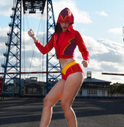 girl wearing The Flash Inspired Cropped Hoodie Mask by knickerocker