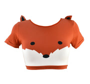 Fox Face Crop Top with Ears by knickerocker