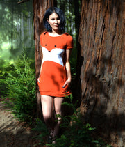 girl wearing fox face dress in woodland by knickerocker