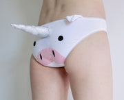 Unicorn Panties with a Plush Unicorn Horn and Ears white knickers by knickerocker