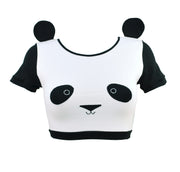 Panda Face Crop Top with Ears t shirt for women by knickerocker