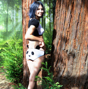 girl in woodland wearing cute panda face lingerie set
