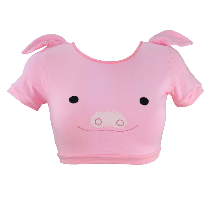 pink Pig Face Crop Top with Ears by knickerocker