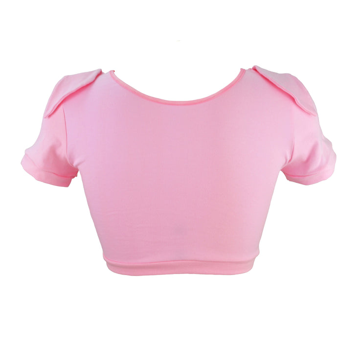 back of Pig Face Crop Top with Ears t shirt for women by knickerocker