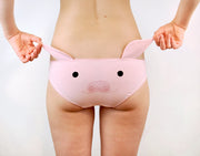 pink Pig Face Panties with Ears for womens lingerie by knickerocker