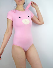 Women wearing pink bunny bodysuit with ears lingerie by knickerocker