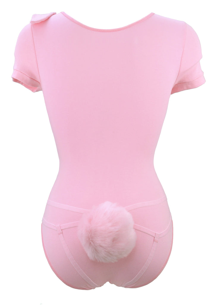 Pink Bunny Bodysuit with Detachable Harness Tail lingerie for women by knickerocker