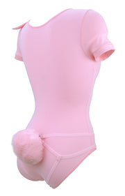 Pink Bunny Bodysuit with Detachable Harness Tail for women by knickerocker