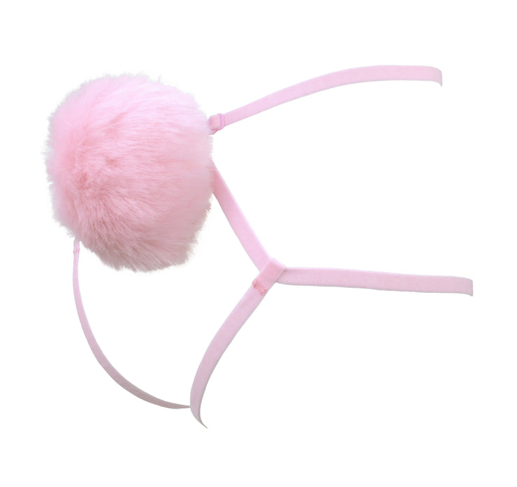 high rise Pink Fluffy Bunny Tail Harness bunny girl lingerie by knickerocker