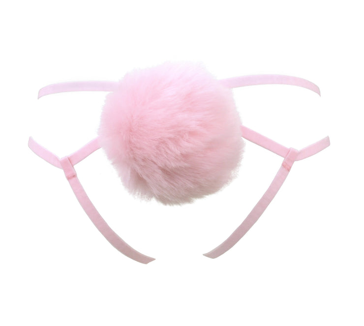 Pink Fluffy Bunny Tail Harness for women by knickerocker