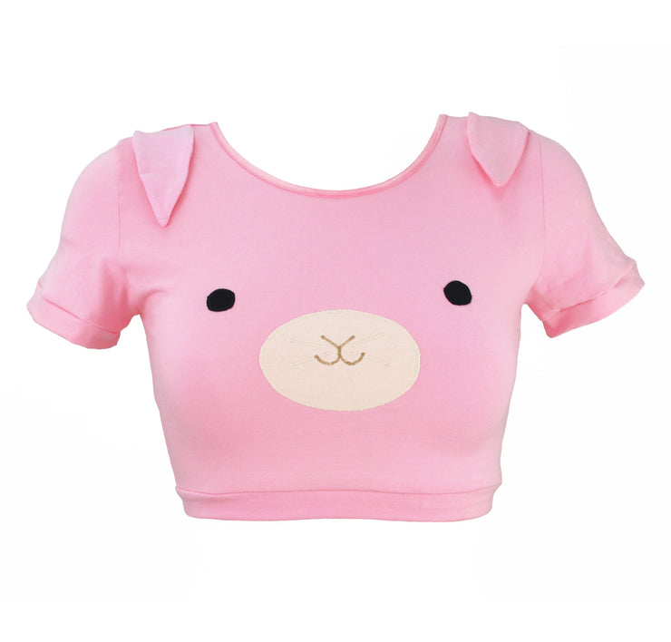 Pink Bunny Crop Top with Ears for women by knickerocker