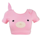 Pink Bunny Crop Top t shirt with Ears for women by knickerocker