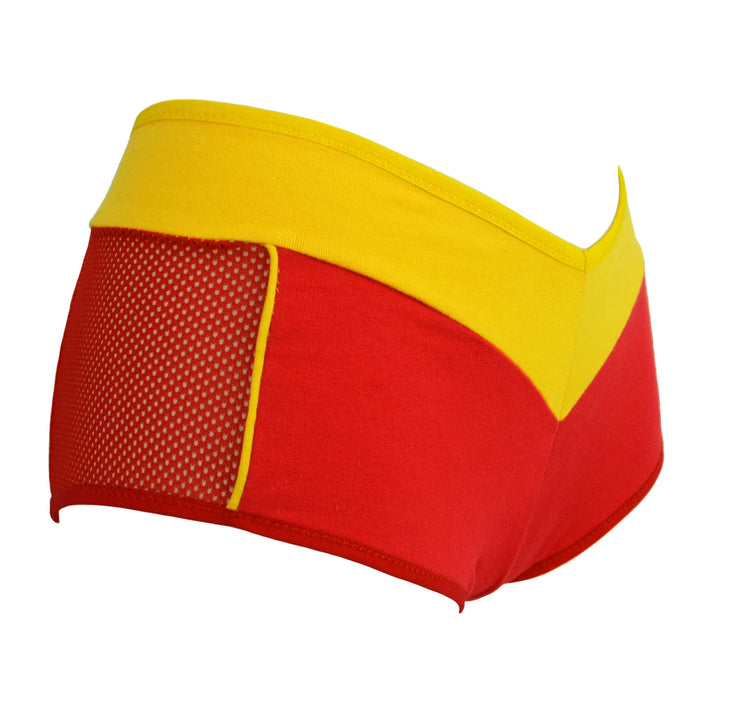 red and yellow The Flash Boy Short knickers by knickerocker