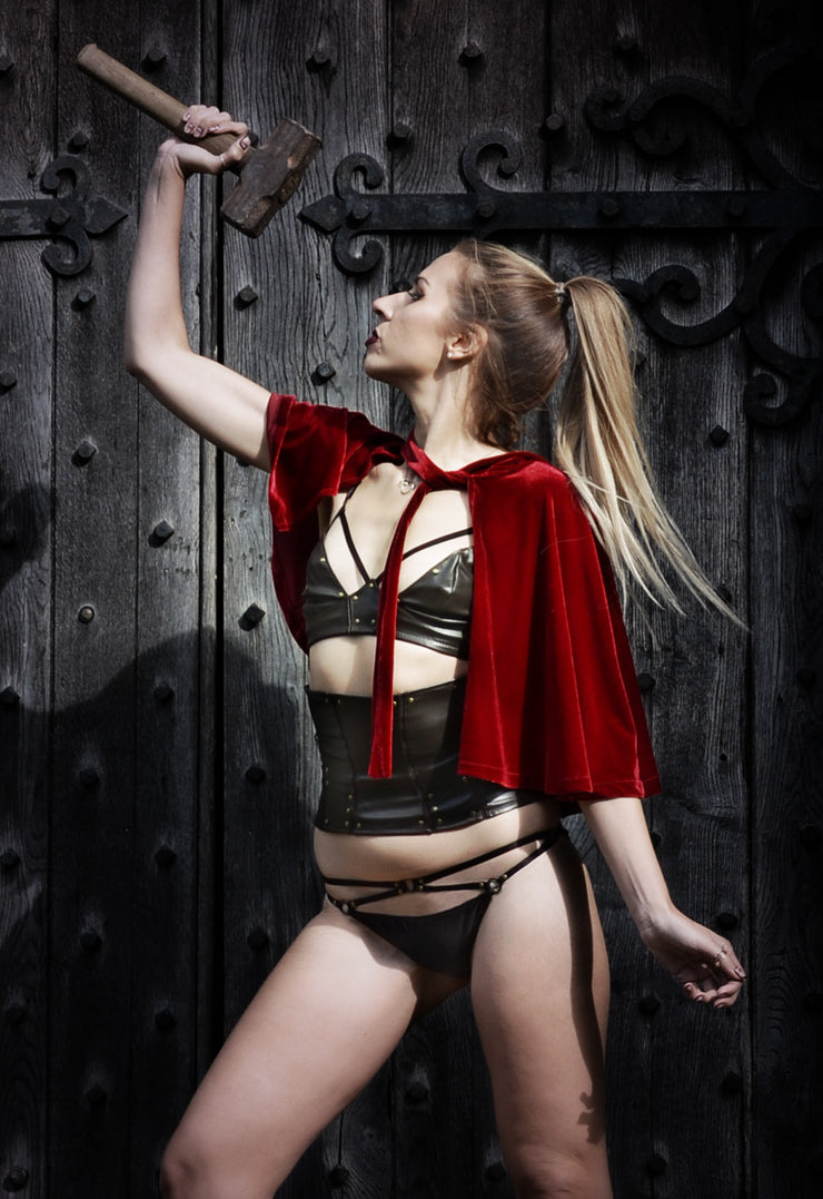 girl wearing thor inspired lingerie set by knickerocker