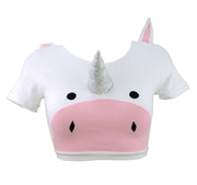 Unicorn Crop Top with Plush 3D Horn and Ears by knickerocker