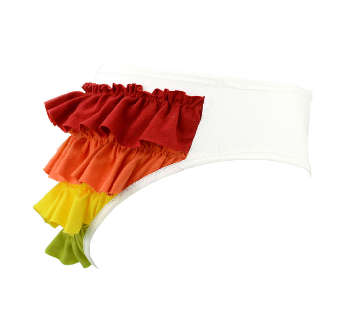 White knickers with Rainbow Ruffles by knickerocker
