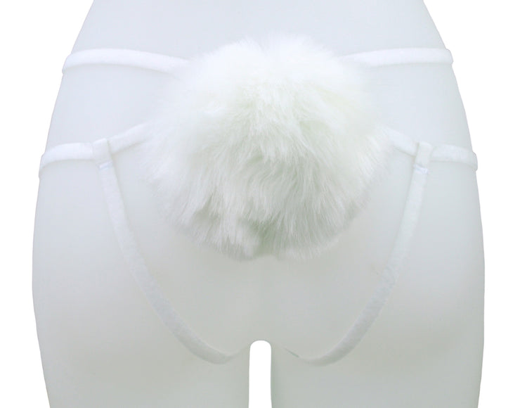 White Fluffy Bunny Tail strappy Harness by knickerocker