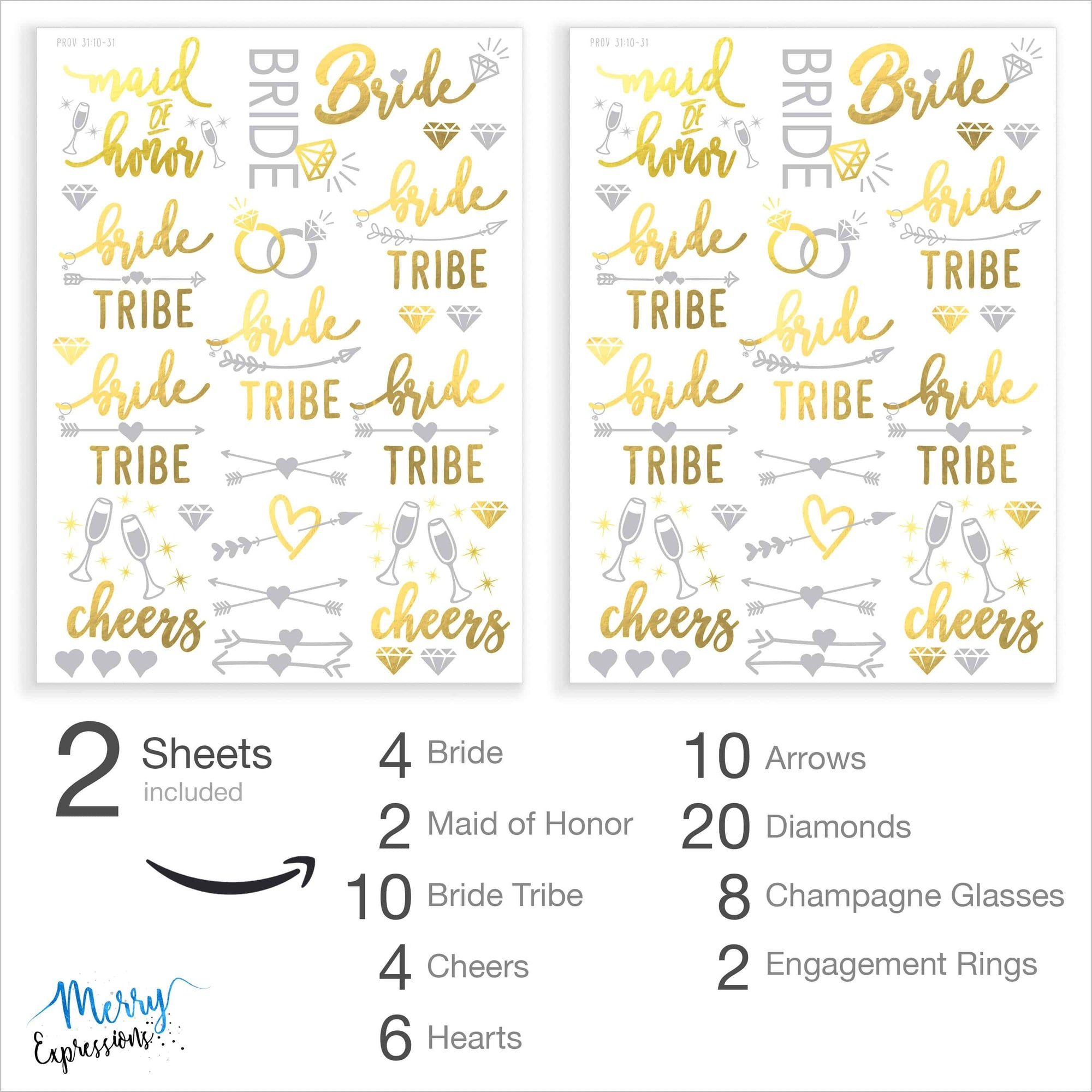 Bachelorette Party Flash Tattoos - 120+ Metallic Gold & Silver Sweat & Water Resistant Tats - Bachelorette Party Decorations For Bridesmaids, Maid Of Honor & Bride Tribe - Merry Expressions