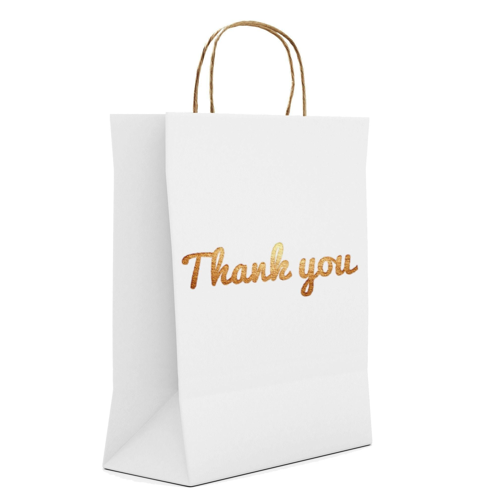 "Gold Foil White Thank You Gift Bags - Thick / Super High Quality - Luxury Pack - 10.5"" x 8.25"" - Gold Print on Both Sides"