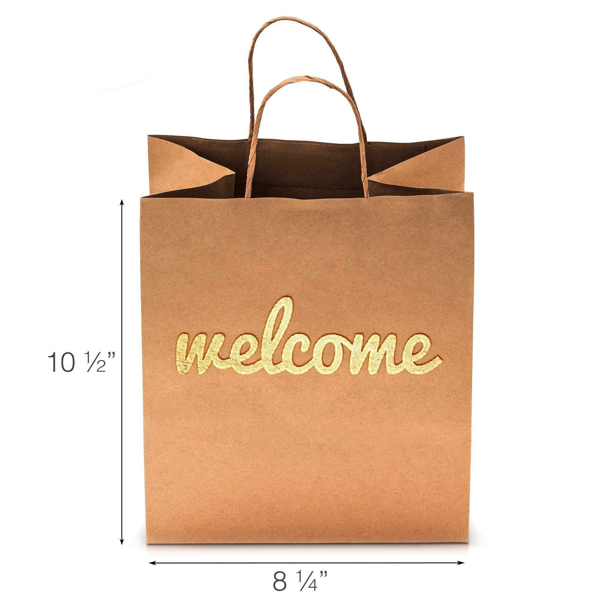 Welcome Gift Bags - Wedding Welcome Bag - Gold Foil Bridesmaid Gift Bag Pack / Set - Strong, Durable & Beautiful