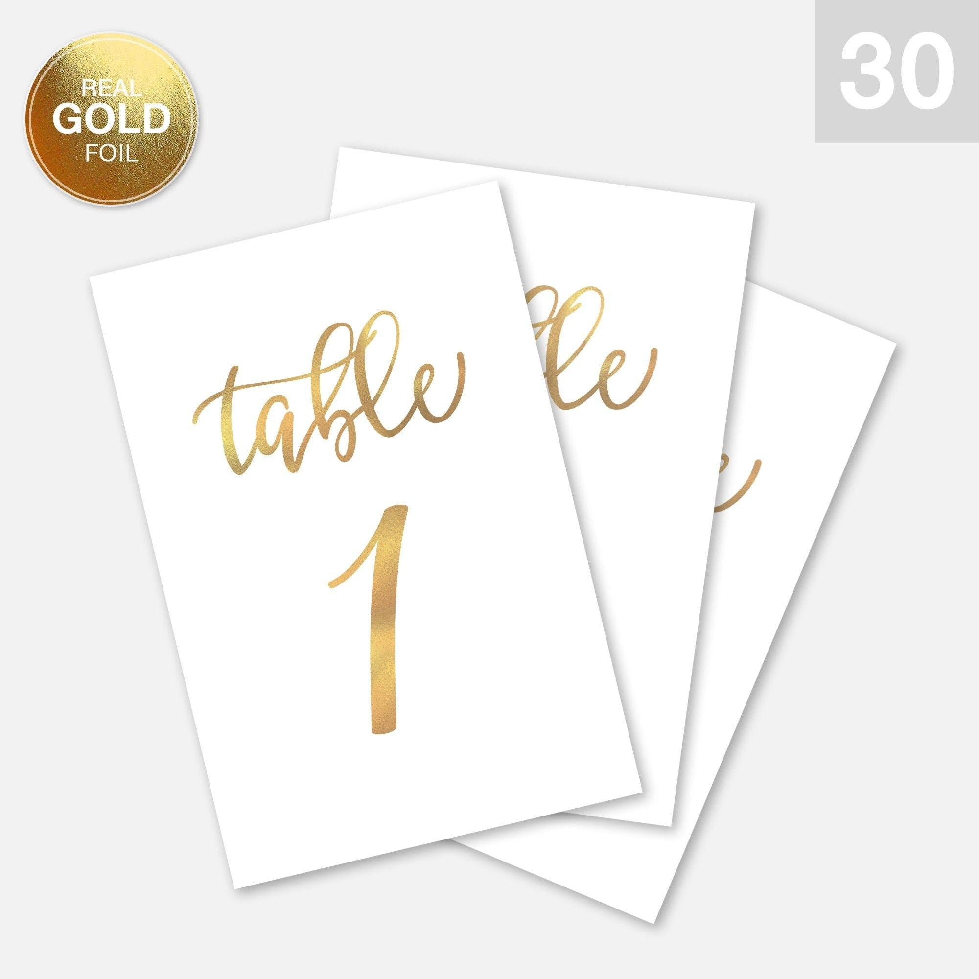 Wedding Table Numbers Cards (1-30 + Head Table) 4x6 Double Sided Modern Calligraphy Foil Design Best for Receptions, Banquets, Cafés, Restaurants & Parties - Merry Expressions