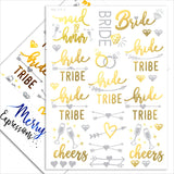Bachelorette Party Flash Tattoos - 120+ Metallic Gold & Silver Sweat & Water Resistant Tats - Bachelorette Party Decorations For Bridesmaids, Maid Of Honor & Bride Tribe