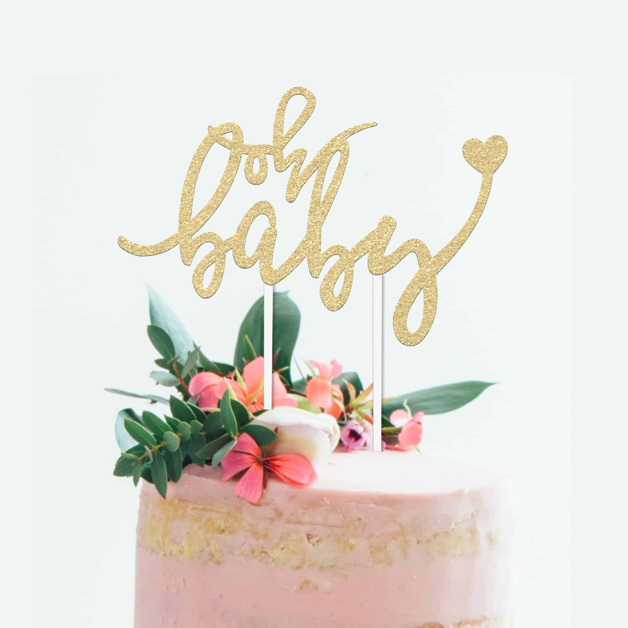 "Baby Shower Cake Topper - ""OH BABY"" - 6.5"" x 4"" Double Sided Gold Glitter Cardstock Topper. Gender Reveal Parties- Food-Safe & Eco-Friendly"