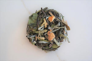 This Casablanca Teas house-blend is made with our White Peony and gets a little kick with the addition of lemongrass, orange peel, and green cardamom.  Very refreshing and delicious both hot and cold.
