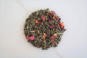 This Casablanca Teas house-blend is made with a combination of peppermint, spearmint, and rose petals.  Both beautiful and wonderfully refreshing, this naturally caffeine free tea is perfect to sip after a meal.