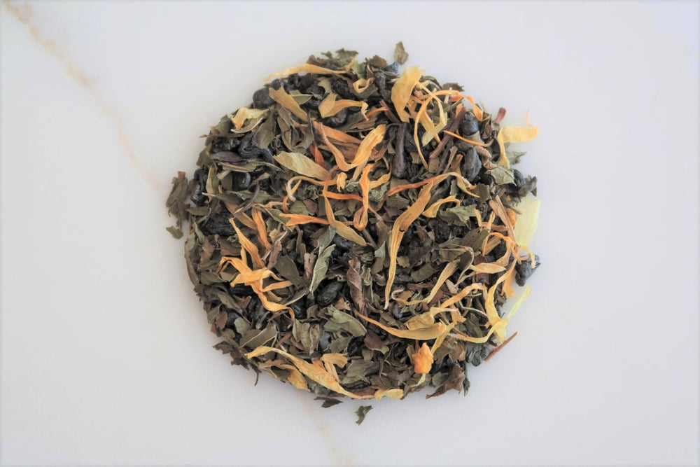 Our take on the traditional Moroccan Mint tea.  This Casablanca Teas house-blend is crafted from Gunpowder green tea, a variety of mints, and calendula petals.  Moroccan Mint produces a bold and refreshing brew that is perfect to drink throughout the day.  Enjoy hot or cold!