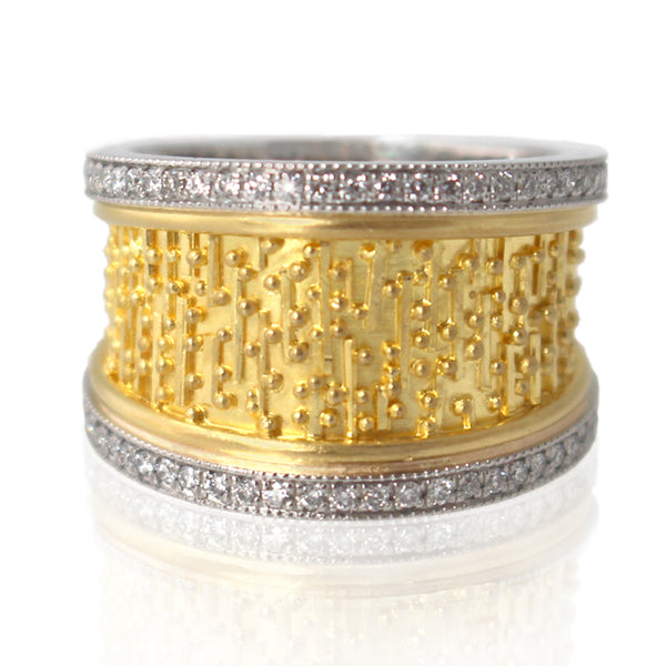 Granulated 22k gold band ring with platinum and diamonds