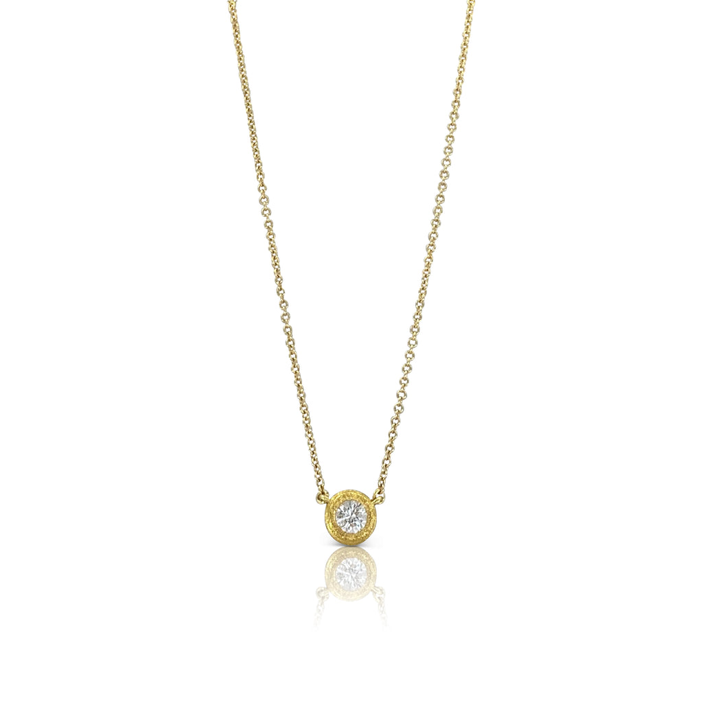 Round Diamond set in Hammered Gold Bezel Necklace