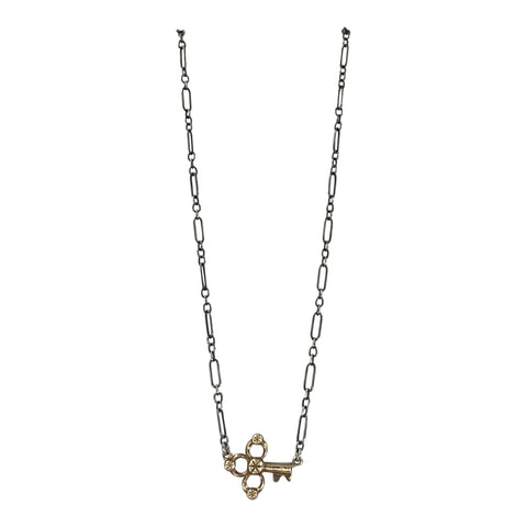 Gold Key on Silver Chain Necklace