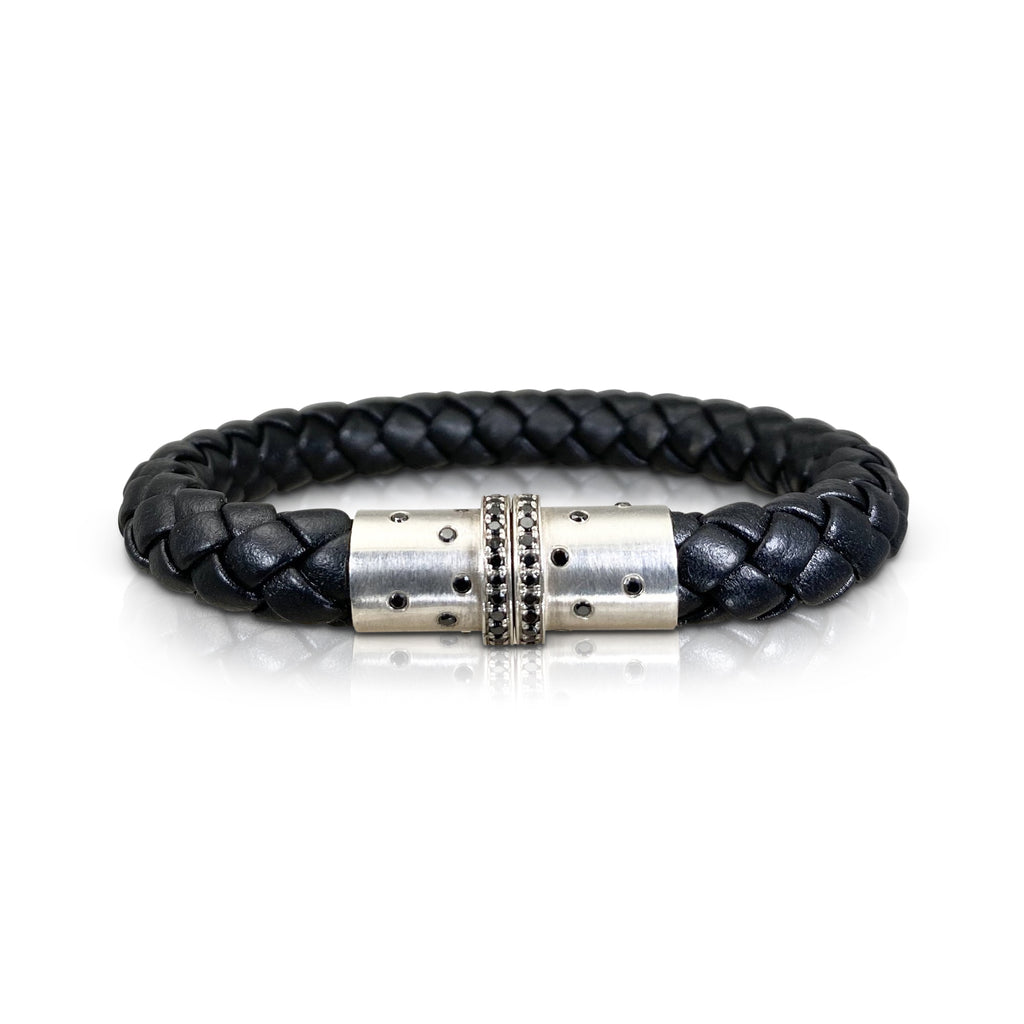 Magnet Leather Bracelet with Silver and Black Diamond Clasp