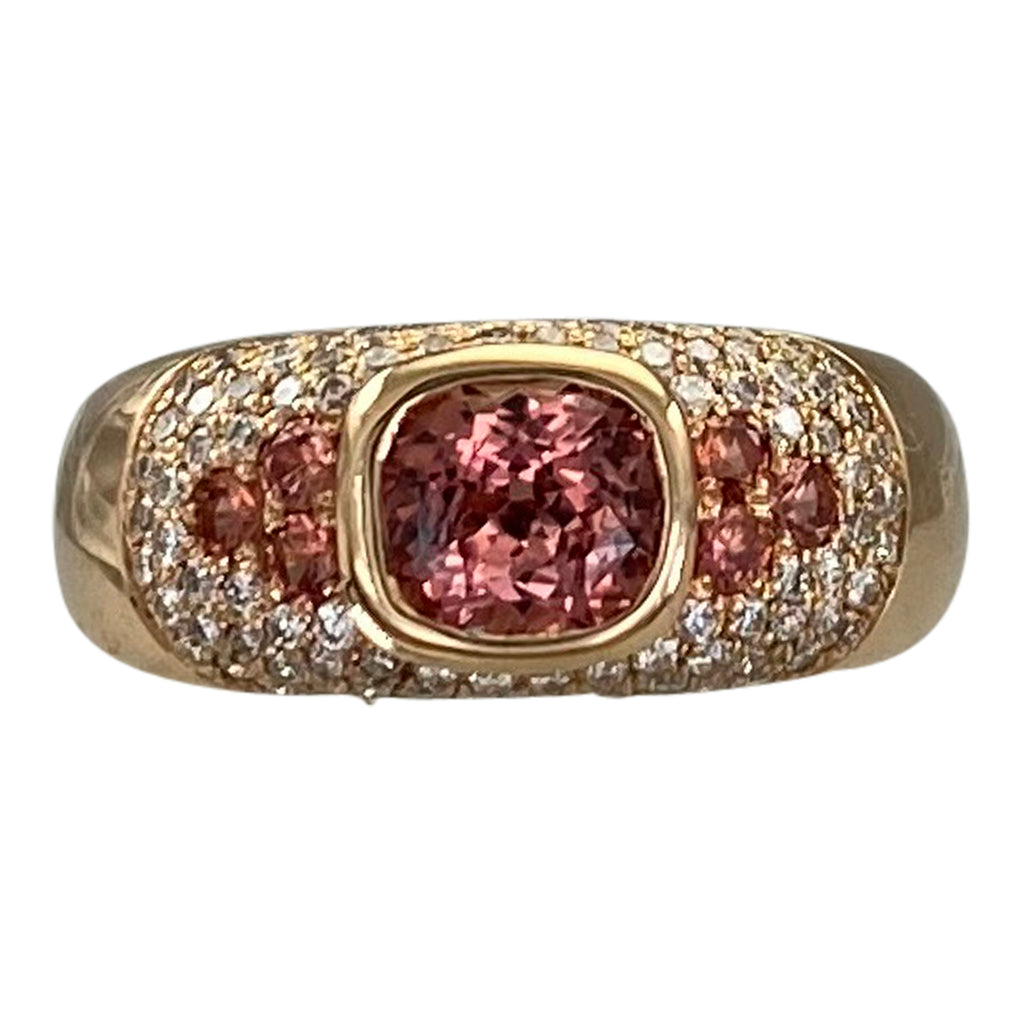 Rose Gold Cushion Padparadscha Sapphire and Diamond Ring