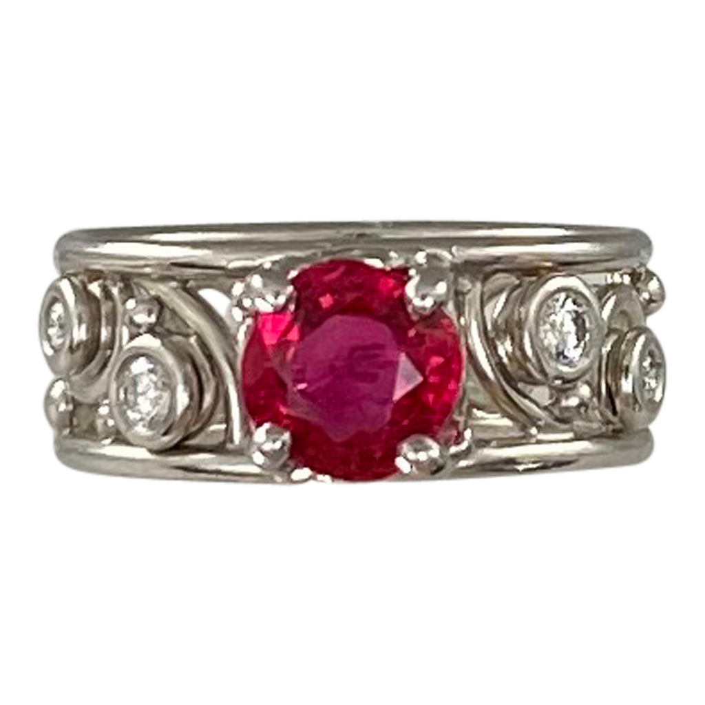 Platinum Red Spinel Frozen Lace Ring