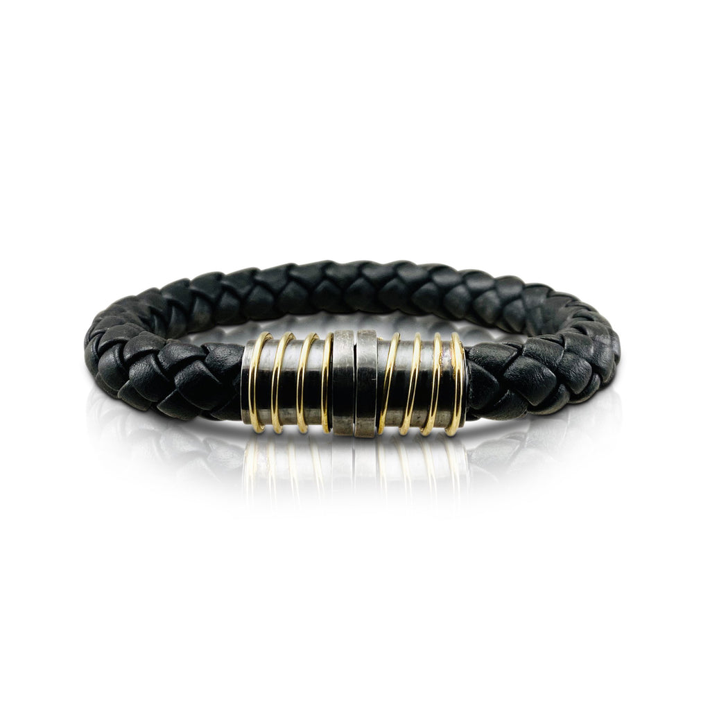 Magnet Leather Bracelet with Oxidized Silver and Gold Spiral Clasp